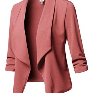 Stretch 3/4 Gathered Sleeve Open Blazer Jacket Mauve