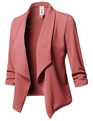 Stretch 3/4 Gathered Sleeve Open Blazer Jacket Mauve