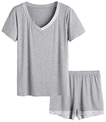 Latuza Women's V-Neck Sleepwear Short Sleeve Pajama Set