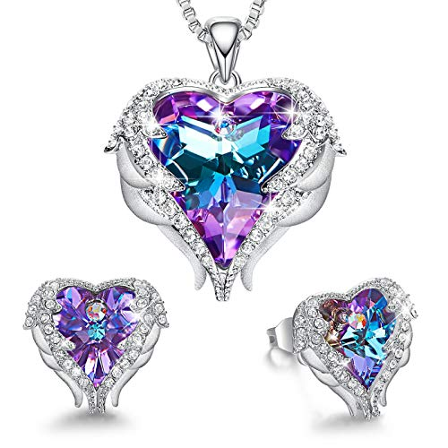 CDE Angel Wing Heart Valentine Jewelry Sets Gift Crystals from Swarovski Set for Women Pendant Necklaces and Earrings Anniversary Birthday Valentine's Day Jewelry Gifts for Women Love