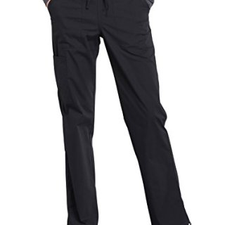 CHEROKEE Workwear Professionals WW160 Women's Mid Rise, Straight Leg Drawstring Pant, Black, Medium