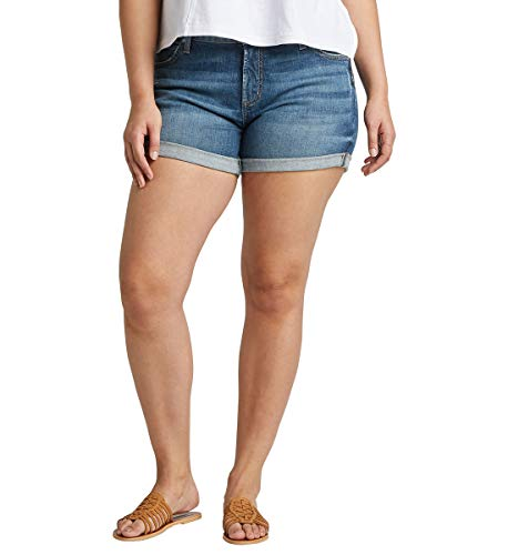 Silver Jeans Co. Women's Plus Size Mid-Rise Boyfriend Short, Vintage Dark