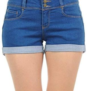 Wax Women's Juniors Stetchy Mid Rise Denim Shorts