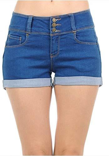 Wax Women's Juniors Stetchy Mid Rise Denim Shorts