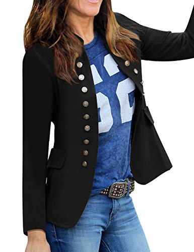 luvamia Women's Open Front Long Sleeves Work Blazer Casual Buttons Jacket