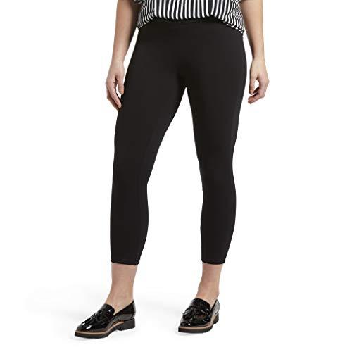 HUE Women's Plus Size Wide Waistband Blackout Cotton Capri Leggings