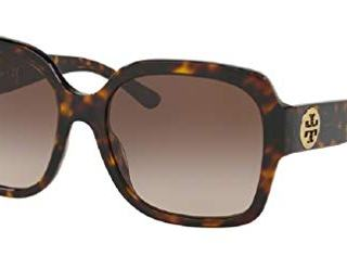 Tory Burch Dark Tortoise/Light Brown Dark Brown Gradient Square Sunglasses