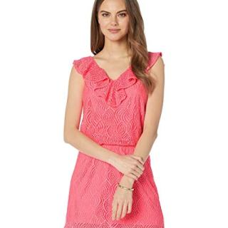 Lilly Pulitzer Alessa Romper Crab Claw Coral Flowing Leaf Lace MD