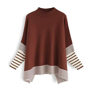 Chicwish Women's Caramel Striped Oversize Soft Knit Cape Sweater Pullover