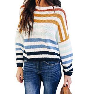 cordat Women Sweaters Long Sleeve Crew Neck Color Block Striped Oversized