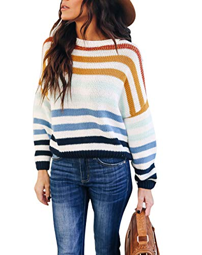 cordat Women Sweaters Long Sleeve Crew Neck Color Block Striped Oversized