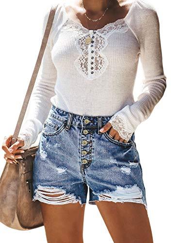Sidefeel Women High Rise Hot Pants Ripped Denim Jean Shorts Medium Light Blue