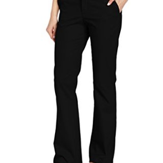 Dickies Women's Flat Front Stretch Twill Pant Slim Fit Bootcut, Black