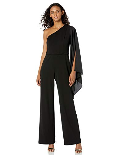 Adrianna Papell Women's Petite One Shoulder Crepe Jumpsuit with Bow Accent