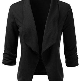 Doublju Womens Casual Work 3/4 Sleeve Open Front Blazer Jacket