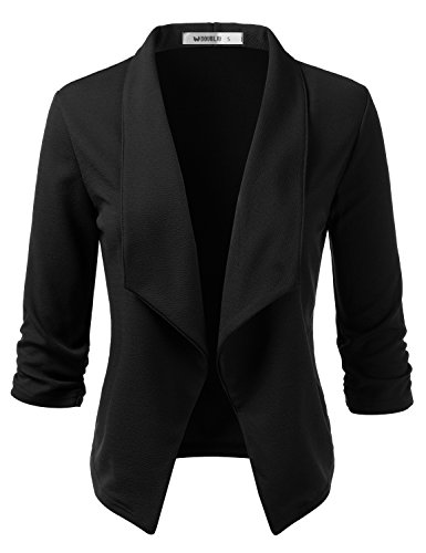 Doublju Womens Casual Work 3/4 Sleeve Open Front Blazer Jacket