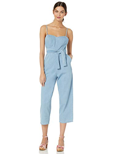 ASTR the label Women's Edie Sleeveless Tapered Crop Denim Jumpsuit