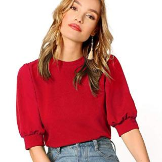 SheIn Women's Puff Sleeve Casual Solid Top Pullover Keyhole Back Blouse Red