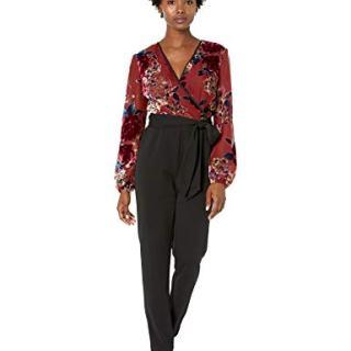 Adrianna Papell Women's Velvet Burnout Jumpsuit, Rose Multi