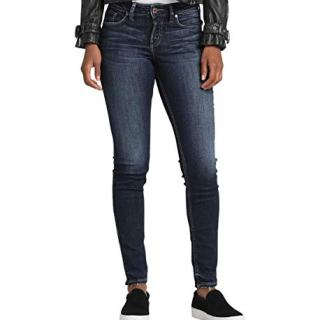 Silver Jeans Co. Women's Suki Curvy Fit Mid Rise Skinny Jeans, Power Stretch