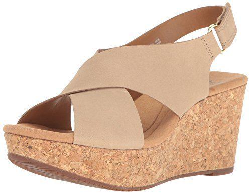 Clarks Women's Annadel Eirwyn Wedge Sandal, Sand