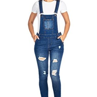 CI SONO Women's Casual Stretch Denim Distressed Ripped Bib Overall Jumpsuit