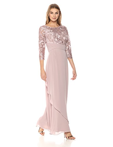 Alex Evenings Women's Long Lace Top Empire Waist Dress