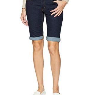 Dickies Women's Perfect Shape Denim Bermuda Shorts, Rinsed Indigo Blue