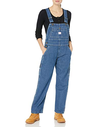 Key Women's Bib Overall, Indigo Denim Enzyme Wash