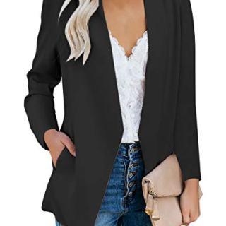 Vetinee Women's Black Casual Open Front Pocket Blazer Long Sleeve Work Office