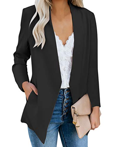 Vetinee Women's Black Casual Open Front Pocket Blazer Long Sleeve Work Office