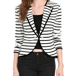 Allegra K Women's Notched Lapel Button Decor Lightweight Striped Blazer Jacket