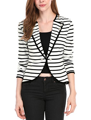 Allegra K Women's Notched Lapel Button Decor Lightweight Striped Blazer Jacket