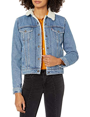 Levi's Women's Original Sherpa Trucker Jackets, Divided Blue, Medium