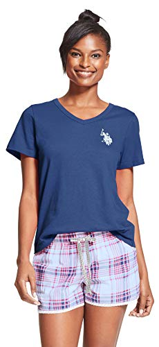 US Polo Assn. Womens 2 Piece V-Neck Short Sleeve Shirt and Short Pajama Pant Set