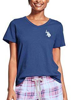 US Polo Assn. Womens 2 Piece V-Neck Short Sleeve Shirt and Short Pajama Pant Set