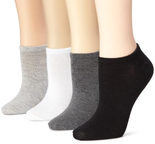 K. Bell Women's 6 Pack Fashion No Show Liner Socks, Solid Charcoal