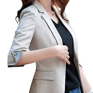 SUSIELADY Womens Notched Lapel Pocket Single Button Casual Work Office