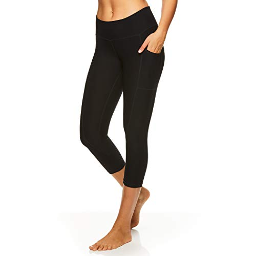 Reebok Women's Printed Capri Leggings with Mid-Rise Waist Cropped Performance