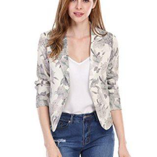 Allegra K Women's Open Front Crop Floral Print Blazer Jacket Beige