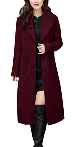 chouyatou Women's Big Notch Lapel Single Breasted Mid-Long Wool Blend Coat