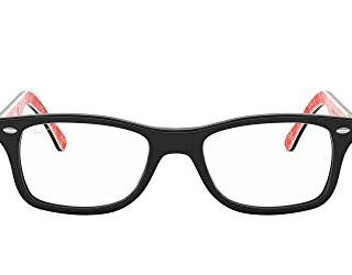 Ray-Ban Square Eyeglass Frames, Black On Texture Red/Demo Lens