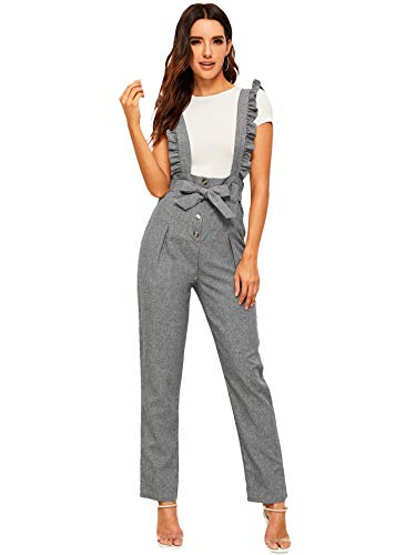 MakeMeChic Women's Button Up Tie Waist Straight Leg Pants Ruffle Suspender