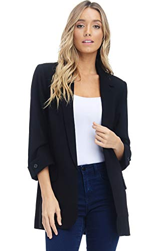 Womens Open Front Blazer Jacket - 3/4 Sleeve Woven Suit Pocket