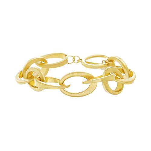 Steve Madden Women's Oval Link Yellow Gold-Tone Bracelet