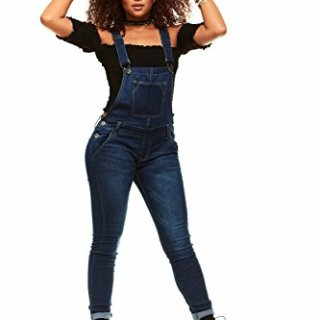 V.I.P.JEANS Casual Blue Jean Bib Strap Pocket Overalls for Women Ankle Length Slim