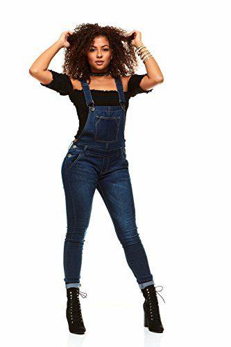 V.I.P.JEANS Casual Blue Jean Bib Strap Pocket Overalls for Women Ankle Length Slim