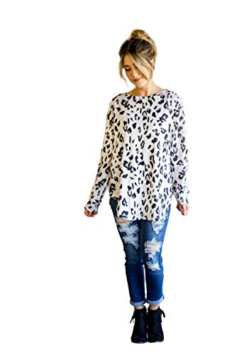 Tickled Teal Women's Long Sleeve Leopard Knit Casual Loose Sweater Outwear