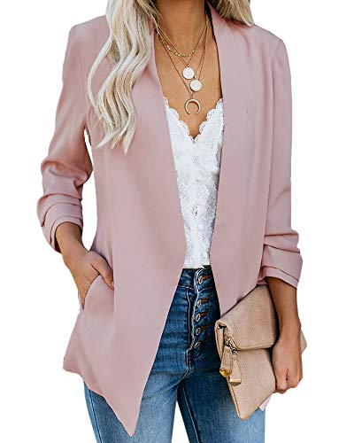 Ofenbuy Womens Casual Blazer Ruched 3/4 Sleeve Open Front Relax Fit Office