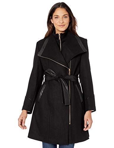Vince Camuto Women's Mixed Fabric Wool Coat, Black, M